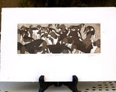 The Happy Hounds, an original handpulled etching in brown