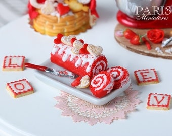 MTO-Valentines Red Velvet Swiss Roll - 1/12 scale miniature food