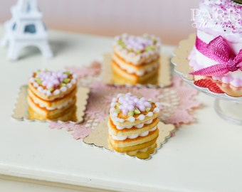 French Buttery Shortbread Millefeuille - Pink Version - Individual French Valentine's Pastry - Miniature Food