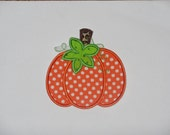 "Embroidered Iron On Applique "" Polka Dot Pumpkin""  RTS"
