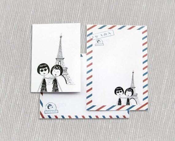 Par avion French airmail themed flapper stationery set // PDF Printables