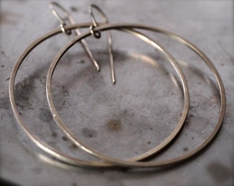 Large thin hanging silver hoop earrings - oxidized