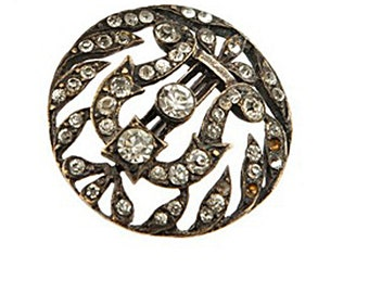 Vintage crystal Strass rhinestones sparkly button, Vintage metal button