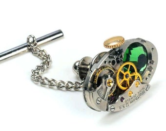 Antique 1930's Waltham Watch n Erinite Crystal Steampunk Tie Tack Pin Chain Clip