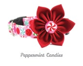 Pink Christmas Dog Collar Flower Set / Adjustable and Removable / Pink Dog Collar Flower/ Style: Peppermint Candies / Available in 4 Sizes