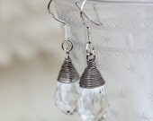 Modern wire-wrapped faceted teardrop Swarovski crystal earrings- Simple bridal jewelry- Sterling silver hooks available