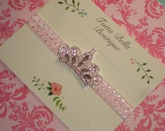Pink and Silver Tiara Headband, Baby Crown Headband, Baby Tiara, Jeweled Headband, Rhinestone & Pearl Crown, Baby headband, Newborn Headband