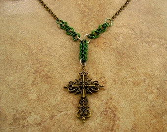 """Cross Necklace, 2 1/2"""" antique brass cross with green chainmail on a 28"""" antique brass rolo chain"""
