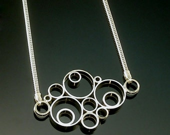 "Hand made Sterling Silver ""Bubble"" Necklace 18"" Free Standard Shipping in United States"