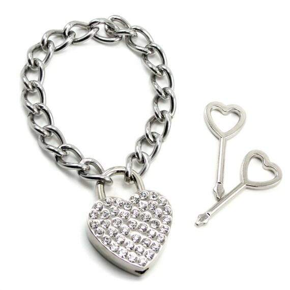 Gothic Lolita Rhinestone Heart Padlock Bracelet - Prisoner of Love - Glam Version - with Working Keys - By Ghostlove