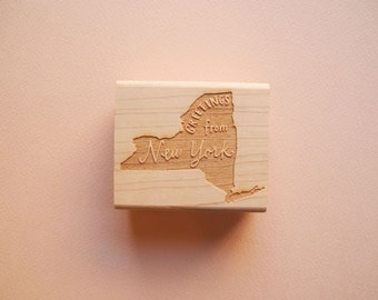 Greetings from New York State Original Hand Lettered Rubber Stamp