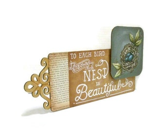 Hand Painted Mixed Media Nest Sign | Hand Lettered Wooden Sign | Filigree Laser Cut wood