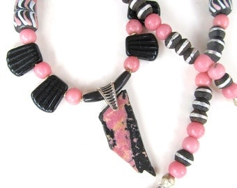 Tribal Necklace in Pink and Black - Pendant Necklace with Trade Beads and Rhodonite