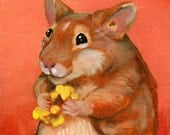 Hamster with Popcorn - 5''x5'' Print of an original Oil Painting