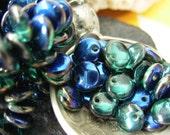 6mm Czech Lentil Glass Beads- Teal/ Blue Iris (50)