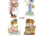 Holly Hobbie - Sarah Kay - Set 2 - A4 Digital Collage Sheet - Printable - For unlimited number of prints