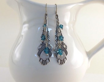 Indicolite and Silver Earrings - Ox Plated Art Deco Earrings - Swarovski Earrings - Boho Earrings - Blue and Silver Earrings - Long Earrings