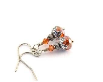 Indian Red Earrings - Vintage Looking Earrings - Swarovski Earrings - Monaco Red Earrings - Silver Earrings - Wire Earrings - Small - E022