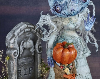 Carvers stay away from my son - Halloween Ghost Story- lustre print size A4( 8.3 in x 11.7 in )anthropomorphic pumpkin mom art doll portrait