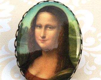 Mona Lisa Ring - Statement Ring, Art Portrait Cameo, Old Masters Novelty Ring, Art to Wear