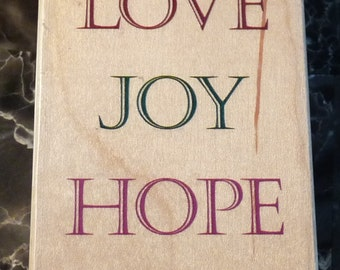 Peace Love Joy Hope Faith - Large WM Rubber Stamp - Encouragement - Christmas - Crafts - Collage - Cards - FREE Shipping