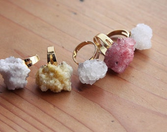 Pastel Crystal Cluster Ring - Gold Druzy Raw Gemstone Rough Natural Glittery Irregular Adjustable Chunky Pale Rings White Quartz Lilac Blue