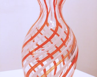 Red & White Striped Glass Vase