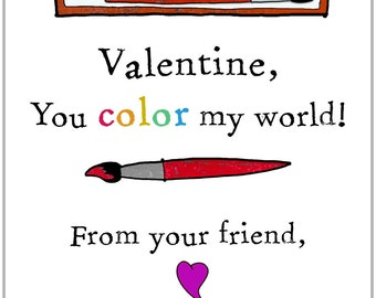 You Color My World Valentines  Set Of 12 Personalized Cards + Envelopes