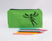 Green pencil case, cute and bright zipper pouch, fairy pen pouch,  fabric zipper pouch, 100% cotton