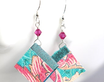 Miniature Book Earrings - Aqua Pink Fleur Design - Great Gift for Teachers, Librarians, Authors, Book Clubs and More