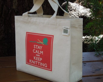 Small recycled cotton canvas tote - Knitting canvas bag - Small canvas tote - Stay calm and keep knitting