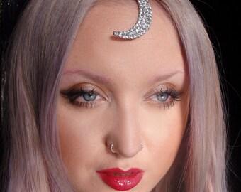 silver crystal crescent moon 90's grunge Tikka head chain headdress