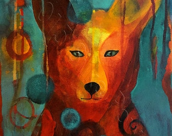 Close to You - Fox Painting - Original Acrylic Art on Stretched Canvas - 11 x 14 inches (28 x 36 cm)