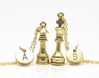 Chess Necklaces, Gold King and Queen Chess Pieces, His and Hers Couple or Best Friends Necklaces, Personalized Monogram Initials Z048