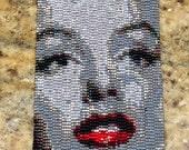 Marilyn Monroe Black and Grey with Red Lip Peyote Stitch Cuff