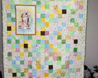 Baby's, Toddler's or Child's Quilt, fun Puppy and Bunny, Handmade