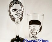 Wedding Toasting Glasses - Vintage Style Original Caricature Glasses- Hand Painted Wine Glass