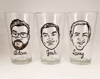 Caricature Glasses - Cool Groomsmen Gift - Vintage Style Original Caricature Beer Glass- Hand Painted Beer Glass