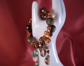 Deep Autumn Colors Beaded Memory Wire Bracelet