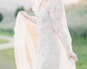 Wedding Veil, Lace Bridal Mantilla veil, Ivory Cathedral length veil - Style 301