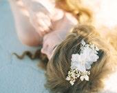 Silk Flower Floral Bridal Headpiece, Enamel Floral Wedding Hair comb, Wedding Hair Accessory - Style 411