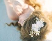 Wedding Hair accessory, Bridal Headpiece, Hair adornment, Floral Hair comb, Enamel Headpiece, Silk Flower Comb - Style 411