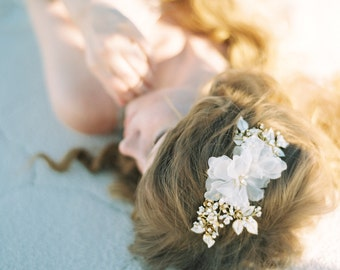 Bridal Headpiece, Wedding Headpiece, Crystal Hair Comb, Bridal Hair Piece, Floral Hair Comb, Beaded Headpiece, Hair Accessories - Style 411