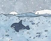 Orca Whale Ocean Art print for kids, nursery decor, 8x10
