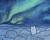 Northern Lights 11x14 Illustration Print with Fox