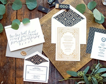 Gold Foil Wedding Invitation, Letterpress Wedding Invitation, Formal Wedding Invitation, Wedding Invitation Suite, Black and Gold