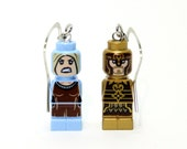 Eowyn and King Theoden Earrings made from Genuine LotR LEGO (r) Microfigs