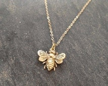 Gold Bee Necklace Honey Bee Necklace