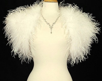 Custom Order for Sweetbutterfly -OPULENT OSTRICH FEATHER Wrap Shrug Jacket Bolero Cape  - New Arrival - Available in Ivory or Black