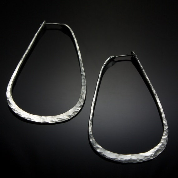 XL Sterling Silver Teardrop Hoop Earrings // Long Silver Hoop Earrings
